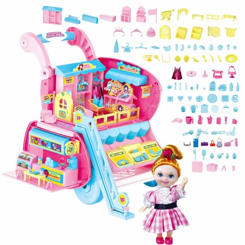 deAO Doll Shopping Cart and Shopping Centre Playset 2in1 Convertible Set Versatile Toy for Children Includes Accessories