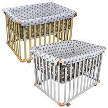 Monsieur Bébé ® Wood evolutive baby playpen 4 sides + playpen bumper- Two colors – Standard NF EN12227