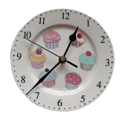 "cupcake 6"" diameter wall clock. Porcelain wall clock."
