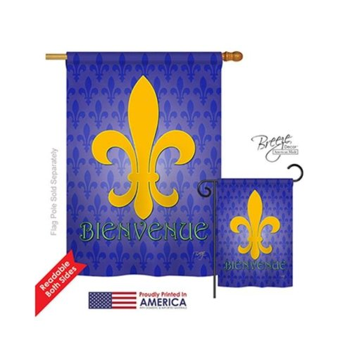 Breeze Decor 18009 Mardi Gras Bienvenue 2-Sided Vertical Impression House Flag - 28 x 40 in.