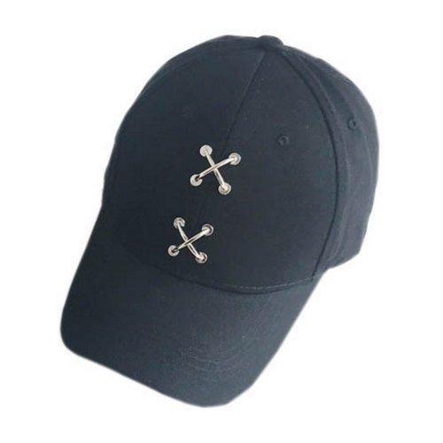 Metal Cross Decoration Sports Caps Fashion Caps Ladies Baseball Caps Black