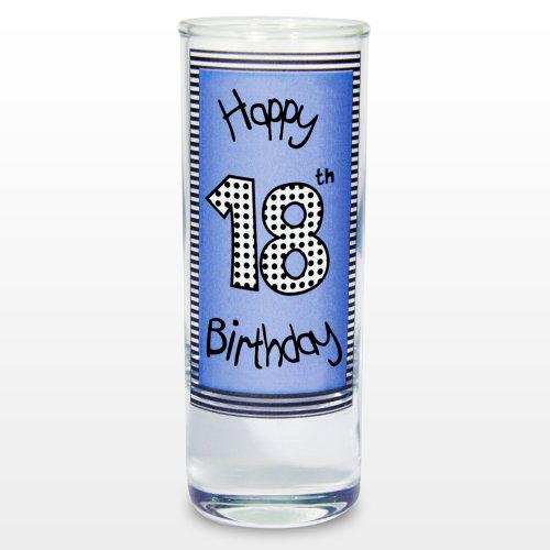 Blue 18th Happy Birthday Shot Glass