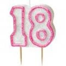 Age 18 Birthday Candle Pink Glitz