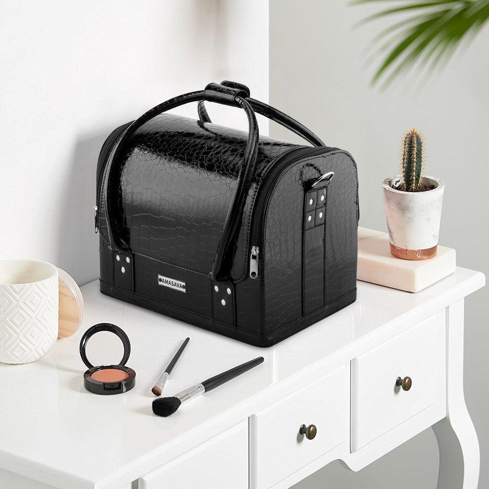 33bd741e8275d3 ... AMASAVA Makeup Case, Storage Beauty Box 3 Tiers Vanity Case 4 Trays Makeup  Cosmetics Organiser. >