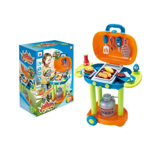 Vinsani 26 PC Blue Children Kids Indoor Outdoor BBQ Barbecue Pretend Piece Play Set with Portable Stand