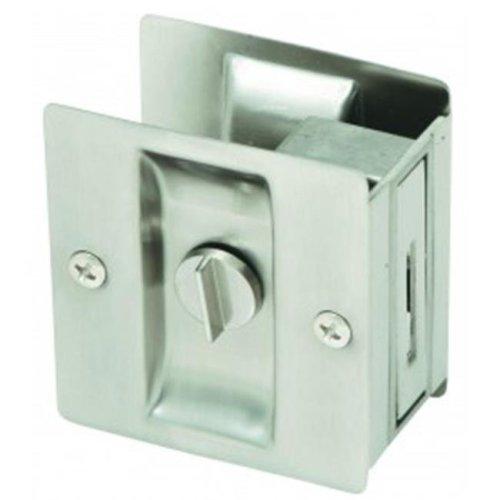 Rectangular Privacy Pocket Door Passage, Satin Nickel Finish