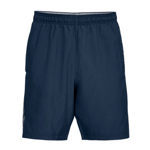 Under Armour Woven Graphic Wordmark Mens Exercise Fitness Sport Short Navy Blue