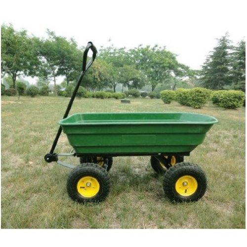 Homcom 75l Garden Cart 4 Wheel Trolley  Wheelbarrow Tipping Truck