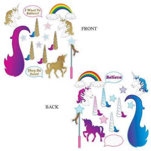 16 Piece Unicorn Glittered Photo Fun Signs - Fantasy Party Decorations