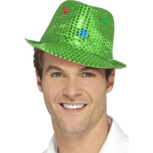 80b86fddbefb29 Green Men's Light Up Sequin Trilby Hat - Adults Mens Ladies Gangster Dance  - adults light up sequin trilby hat mens ladies gangster dance fedora on  OnBuy