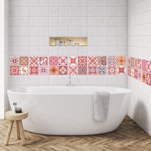 Walplus Tile Sticker Rose Red Wall Sticker Decal (Size: 10cm x 10cm @ 24pcs)