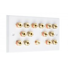 White 7.1 Speaker Wall Plate 14 Terminals + RCA Phono Socket - Two Gang - No Soldering Required