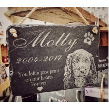 Personalised Photo Engraved Pet Memorial Slate Sign
