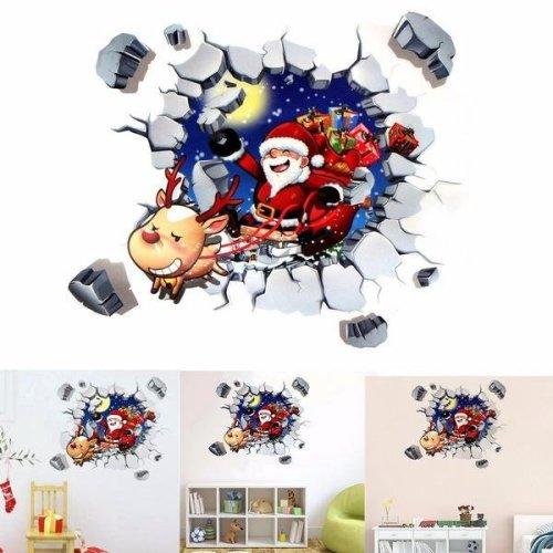 45x60CM 3D Wall Sticker Christmas Santa Claus Adhesive Sticker Bedroom Home Decor