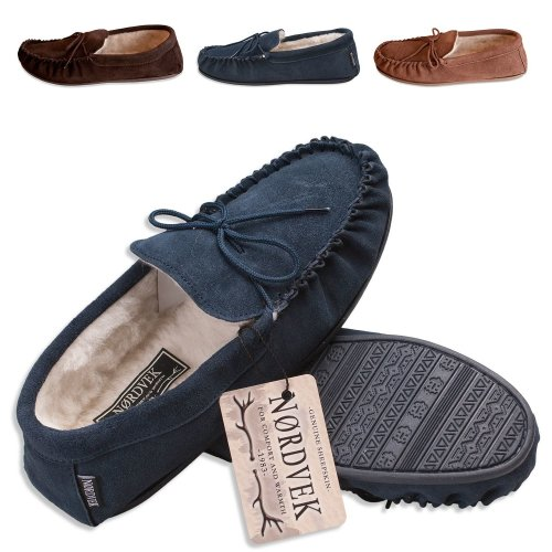 8cd12578e3b Nordvek Sheepskin Slippers Men - Warm Wool Lined Moccasin - Non-Slip Hard  Sole   422-100 on OnBuy