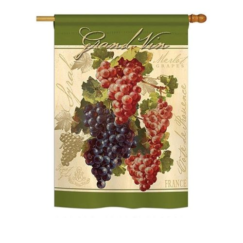 Breeze Decor BD-FT-H-117041-IP-BO-DS02-US Red & Purple Grapes Food - Everyday Fruits Impressions Decorative Vertical House Flag - 28 x 40 in.