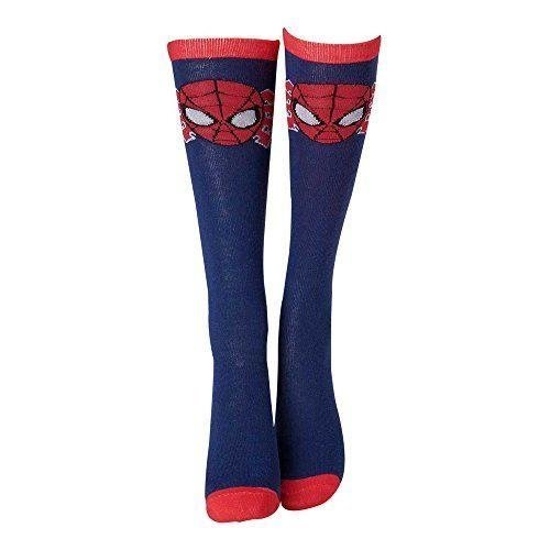 MARVEL COMICS Spider-Man Face Mask Close-up Knee High Socks - Blue/Red