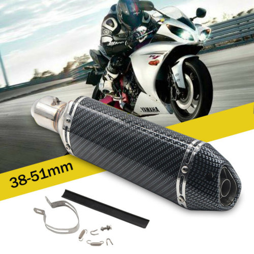 38-51mm Motorbike Motorcycle Exhaust Muffler Pipe Slip-On Scooter Carbon Fiber