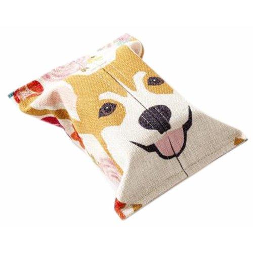 Convenient Cloth Toilet Paper Tissue Holder Storage Box Dog Yellow