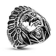 Indian Apache Chief Surgical Steel Wide Cast 27mm Wifth Band Ring