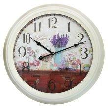 Home Decoration Large Metal Paris & Lavender Scene Wall Clock 47cm