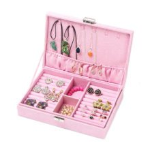 Jewelry Box Necklace Organizer Rings Display Earrings Storage Case-C03