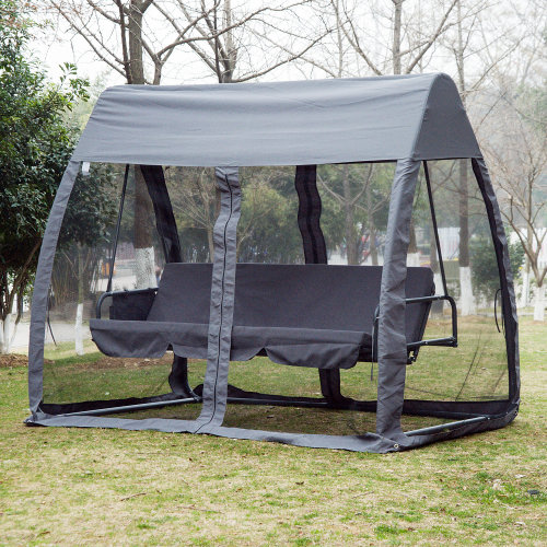 Outsunny Swing Chair Lounger Bed, 3 Persons, Convertible-Grey