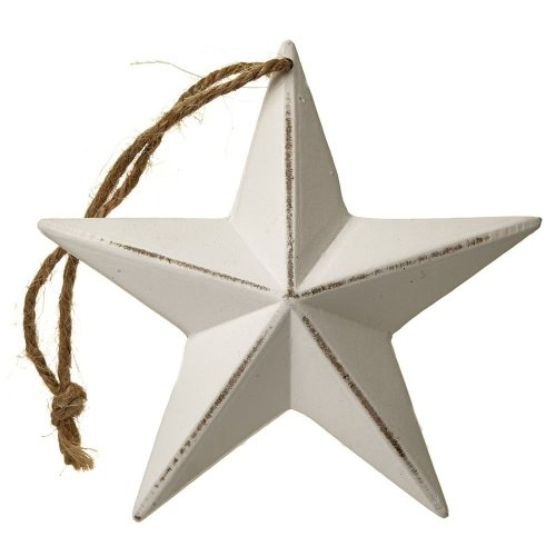 Hanging Wooden Star White Shabby Chic Country Amish Decor 12cm