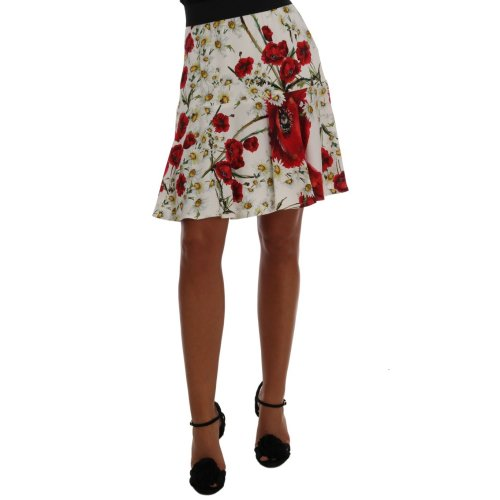 Dolce & Gabbana Red Daisy And Poppy Print Pleated Skirt