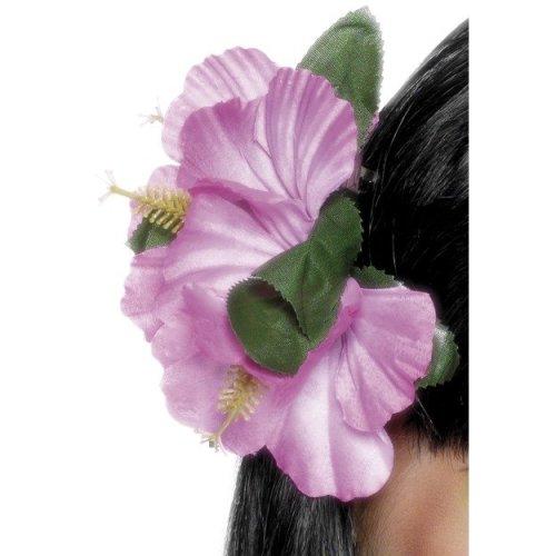 Smiffy's Hawaiian Flower Hair Clip - Pink -  hair clip flower hawaiian pink fancy dress ladies smiffys accessory luau party costume