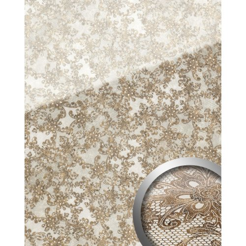 WallFace 17839 LACE Wallpanel selfadhesive Glass french lace white brown 2.6 sqm