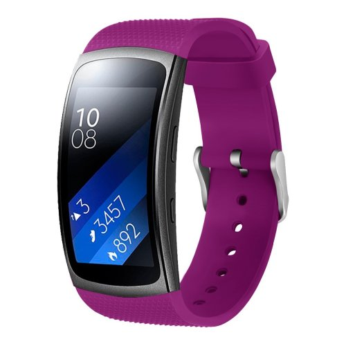 Aresh compatible Samsung Gear Fit 2 Accessory Watch Band,Soft Silicon replacement Wristband compatible Samsung Gear Fit 2(Purple)