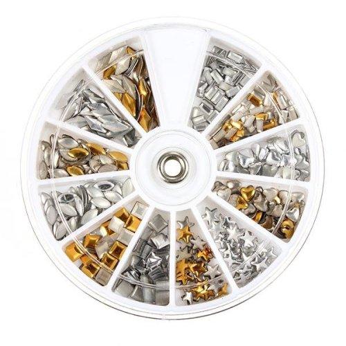 6 Style 3D Nail Art Decoration Metallic Plate Round Wheel