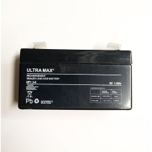 Ultra Max NP1.3-6 6V 1.3Ah F1 Sealed Lead Acid Rechargeable SLA Battery