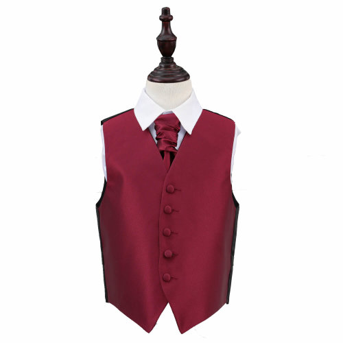 Burgundy Solid Check Wedding Waistcoat & Cravat Set for Boys 30'