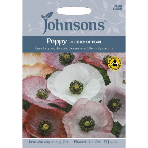Johnsons Seeds - Pictorial Pack - Flower - Poppy Mother of Pearl - 1000 Seeds