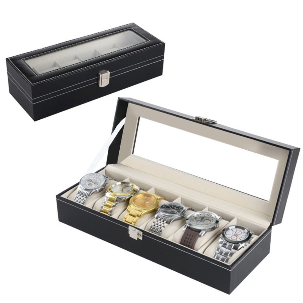 bcd4f5b00 ... Zogin 6 Grid Watch Jewelry Display Storage Box Case Bracelet Organisers  Display Boxes with Pillows Holders ...