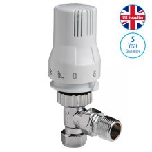 Thermostatic radiator valve 15mm Angled White