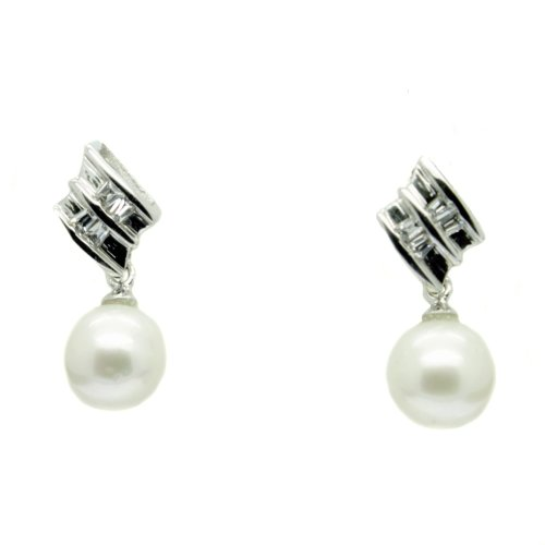 Pearl Drop Earrings 8mm Pearls Sterling Silver Studs Cz Faux Diamond