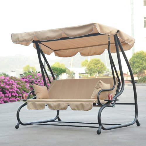 Outsunny 3 Seater Swing Chair | Beige Garden Swing Seat