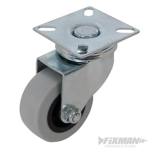 50mm Swivel Rubber Castor - Fixman 50kg 530386 -  castor swivel rubber fixman 50kg 50mm 530386