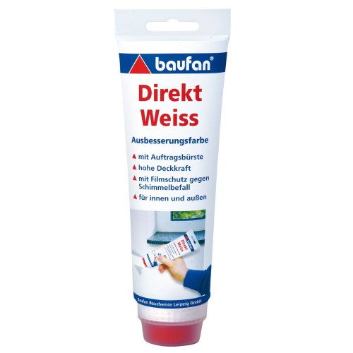 Baufan direct white repair paint, 250 ml, with application brush.