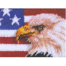 "Caron Wonderart Latch Hook Kit 15""X20""-American Eagle"