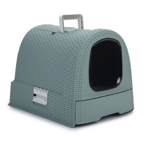 Hooded Cat Litter Tray with Scoop Swing Door