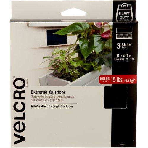 "VELCRO(R) Brand Extreme Outdoor Strips 4""X6"" 3/Pkg-Black"