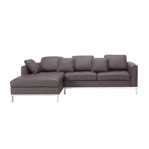 new arrival 13aca ccc2b Right Hand Leather Corner Sofa Dark Brown OSLO