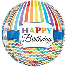 Orbz:HBD Bright Stripe & Chevron - Foil Balloons 3067701