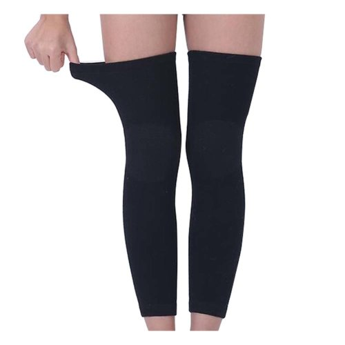 Thicken Breathable Knee Brace Soft Leg Warmers L(Asian Size), BLACK