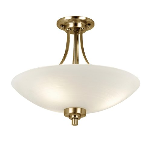 Traditional Semi-Flush Ceiling Light With Frosted Glass Shade