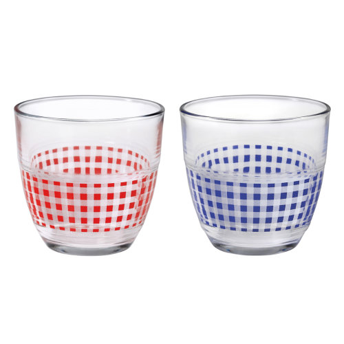 Duralex Set of 2 Gigogne Vichy Red and Blue Tumblers, 22cl